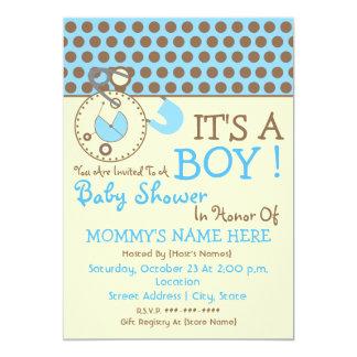La fiesta de bienvenida al bebé invita - Pin azul Invitación 12,7 X 17,8 Cm
