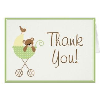 La fiesta de bienvenida al bebé le agradece las tarjeta pequeña