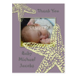 La fiesta de bienvenida al bebé le agradece que la tarjetas postales