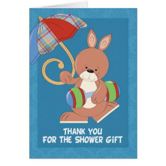 La fiesta de bienvenida al bebé le agradece tarjeta de felicitación