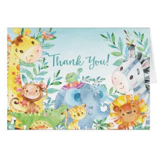 La fiesta de bienvenida al bebé linda de la selva tarjeta pequeña