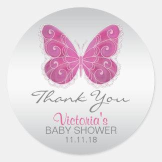La fiesta de bienvenida al bebé linda del rosa de pegatina redonda