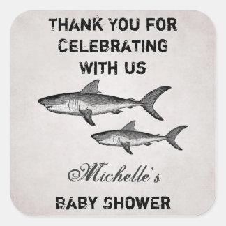 La fiesta de bienvenida al bebé personalizada del pegatina cuadrada