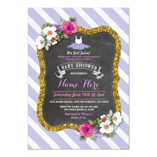 La fiesta de bienvenida al bebé púrpura linda del invitación 12,7 x 17,8 cm