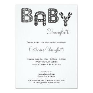 La fiesta de bienvenida al bebé rayada invitacion personalizada