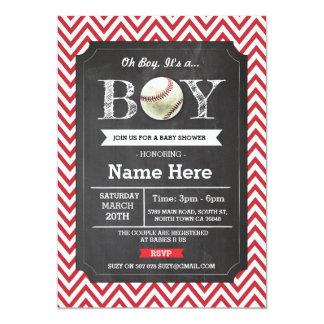 La fiesta de bienvenida al bebé roja Chevron del Invitación 12,7 X 17,8 Cm
