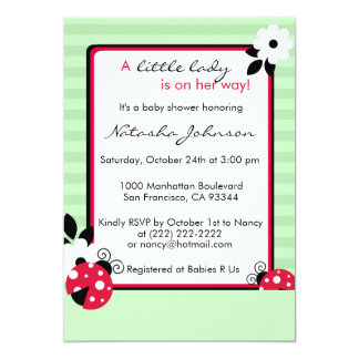 La fiesta de bienvenida al bebé roja linda de la invitación 12,7 x 17,8 cm