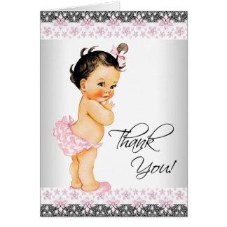 La fiesta de bienvenida al bebé rosada del chica tarjeta pequeña