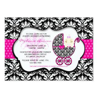 La fiesta de bienvenida al bebé rosada linda del invitación 12,7 x 17,8 cm
