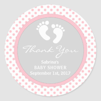 La fiesta de bienvenida al bebé rosada linda del pegatina redonda