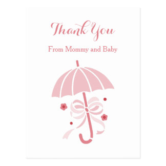 La fiesta de bienvenida al bebé rosada linda del postal