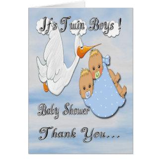 La fiesta de bienvenida al bebé rubia de la cigüeñ tarjeta pequeña