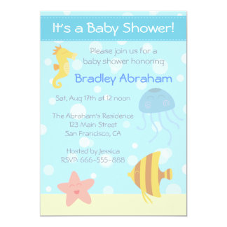 La fiesta de bienvenida al bebé subacuática del invitación 12,7 x 17,8 cm
