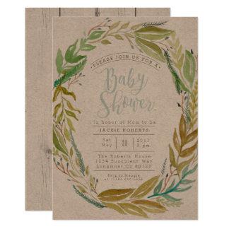 La fiesta de bienvenida al bebé verde de la invitación 12,7 x 17,8 cm