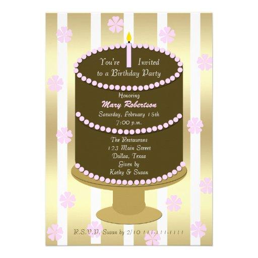 La fiesta de cumpleaños adulta invita -- Torta de  Invitación
