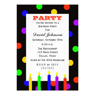 La fiesta de cumpleaños adulta invita -- Velas del