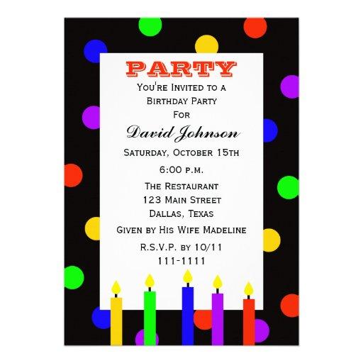 La fiesta de cumpleaños adulta invita -- Velas del Comunicados Personales