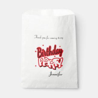 La fiesta de cumpleaños agradece el rojo del | bolsa de papel