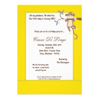 la fiesta de cumpleaños amarilla del mono 5x7 invi comunicado