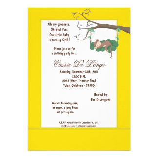 la fiesta de cumpleaños amarilla del mono 5x7 invi comunicados personalizados