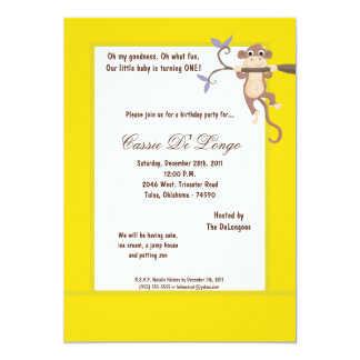 la fiesta de cumpleaños amarilla del mono 5x7 comunicado