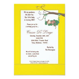 la fiesta de cumpleaños amarilla del mono 5x7 comunicados personalizados