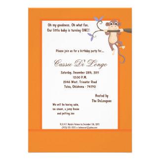 la fiesta de cumpleaños anaranjada del mono 5x7 in anuncios personalizados