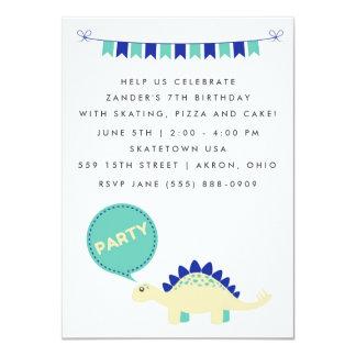 La fiesta de cumpleaños azul del dinosaurio de los invitación 11,4 x 15,8 cm