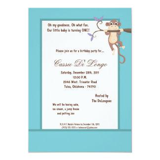 la fiesta de cumpleaños azul del mono 5x7 invita invitación 12,7 x 17,8 cm