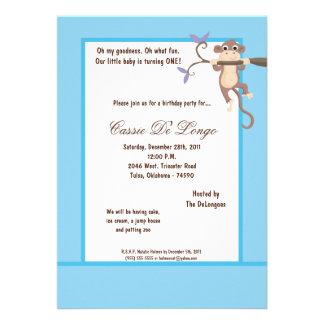 la fiesta de cumpleaños azul del mono 5x7 invita anuncio