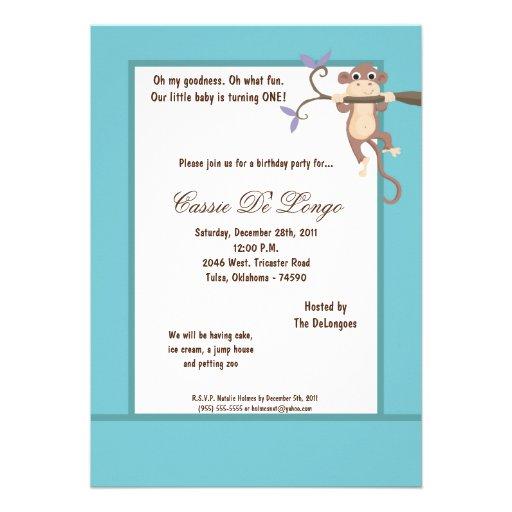 la fiesta de cumpleaños azul del mono 5x7 invita invitación personalizada