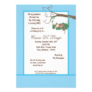 la fiesta de cumpleaños azul del mono 5x7 invita invitacion personalizada