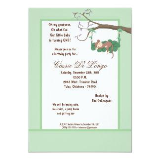 la fiesta de cumpleaños azul del mono verde 5x7 invitación 12,7 x 17,8 cm