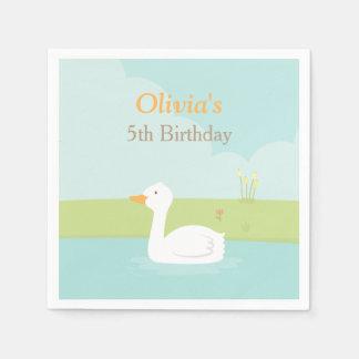 La fiesta de cumpleaños blanca elegante del pato servilletas desechables