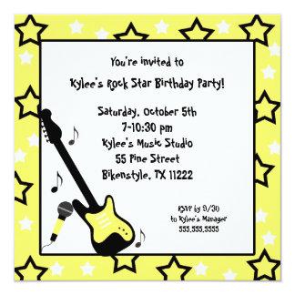 La fiesta de cumpleaños de la estrella del rock invitación 13,3 cm x 13,3cm