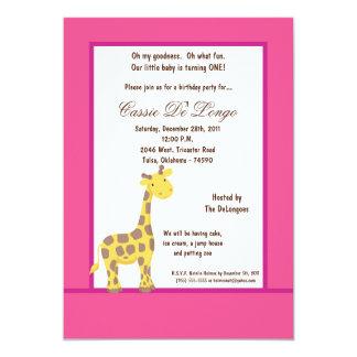 la fiesta de cumpleaños de la jirafa de las rosas invitación 12,7 x 17,8 cm