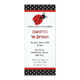 La fiesta de cumpleaños de la mariquita invita a invitación 10,1 x 23,5 cm