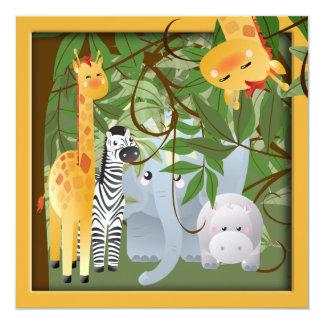 La fiesta de cumpleaños de los animales del safari invitación 13,3 cm x 13,3cm
