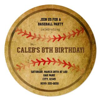La fiesta de cumpleaños del béisbol del vintage se invitación 13,3 cm x 13,3cm