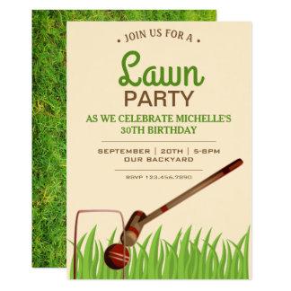 La fiesta de cumpleaños del césped del juego del invitación 12,7 x 17,8 cm