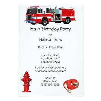 La fiesta de cumpleaños del coche de bomberos invitación 12,7 x 17,8 cm