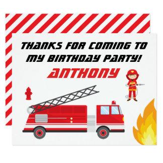 La fiesta de cumpleaños del coche de bomberos le invitación 10,8 x 13,9 cm