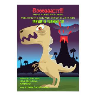 La fiesta de cumpleaños del dinosaurio de la invitación 12,7 x 17,8 cm