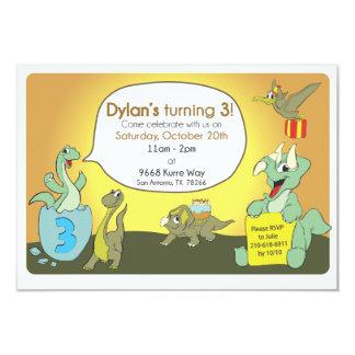 La fiesta de cumpleaños del dinosaurio invita invitación 8,9 x 12,7 cm