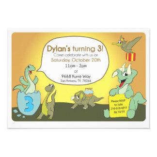 La fiesta de cumpleaños del dinosaurio invita anuncio