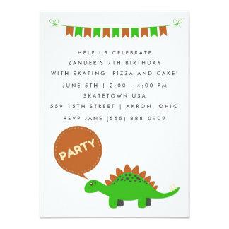 La fiesta de cumpleaños del dinosaurio verde de invitación 11,4 x 15,8 cm
