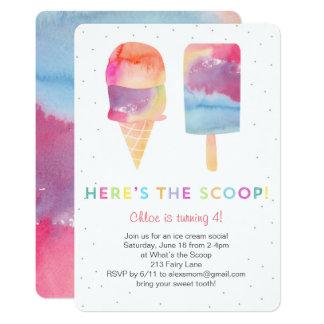 La fiesta de cumpleaños del helado de la acuarela invitación 12,7 x 17,8 cm