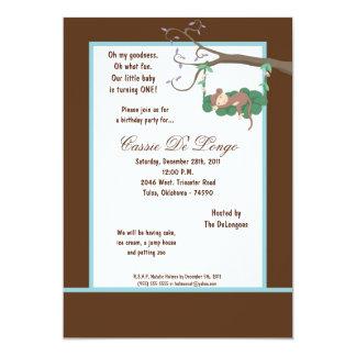 la fiesta de cumpleaños del mono de 5x7 Brown Invitación 12,7 X 17,8 Cm