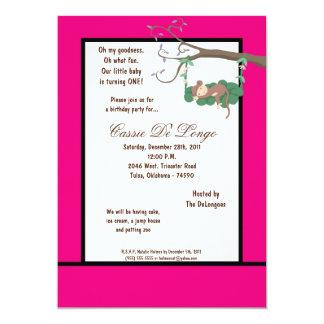 la fiesta de cumpleaños del mono de las rosas invitación 12,7 x 17,8 cm