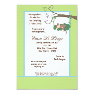 la fiesta de cumpleaños del mono verde 5x7 invita comunicado personalizado